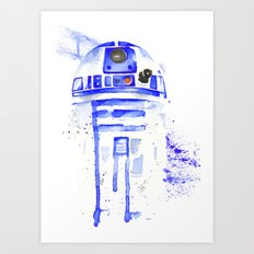 R2-D2 R2D2 droid watercolor Wars Scifi Star FAnart Art Print