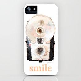 Retro Watercolor Camera SMILE! iPhone Case