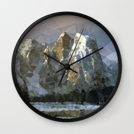 Cathedral Rocks Yosemite Low Poly Geometric Triangles Wall Clock