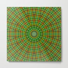 Mandala Green Red Yellow and White Metal Print