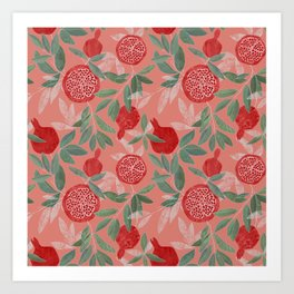 Pomegranate garden on peach pink Art Print