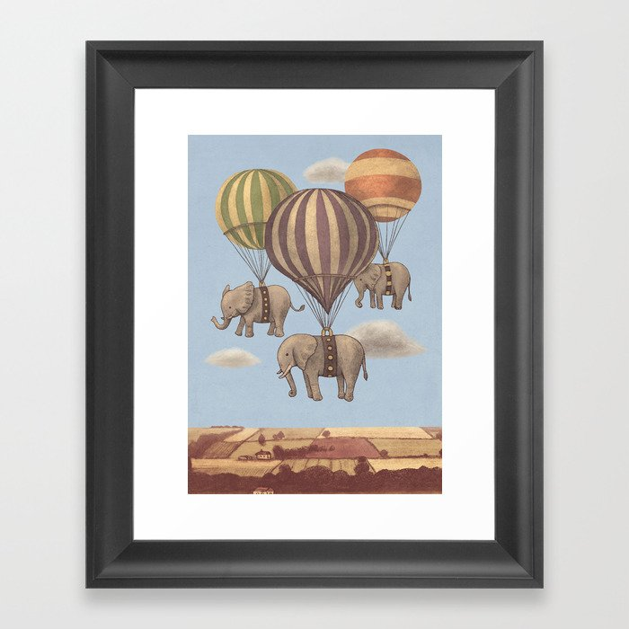 Flight of the Elephants - colour option Framed Art Print