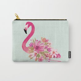 Flamingo with flowers Carry-All Pouch