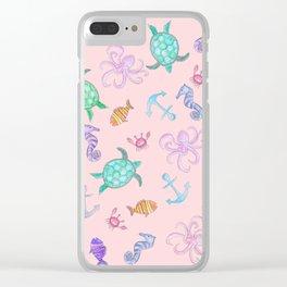Cute Watercolor Nautical Sea Beach Pattern Clear iPhone Case