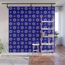 geometric flower 10 dark blue Wall Mural