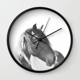 Stallion in black and white Wall Clock