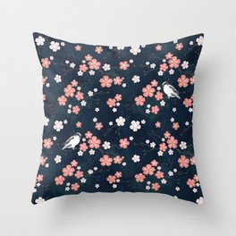 Navy blue cherry blossom finch Throw Pillow