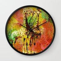 giraffe Wall Clocks featuring Giraffe  by Saundra Myles