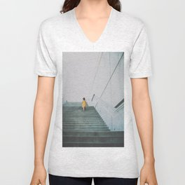 A girl in a yellow dress Unisex V-Neck