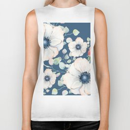 Summer Flowers Blue #society6 #buyart Biker Tank