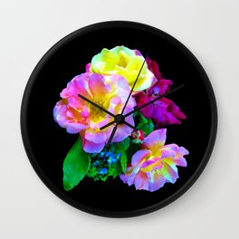 Rosa Yellow Roses on Black Wall Clock