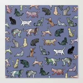 Cats shaped Marble - Violet Blue Canvas Print