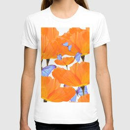 Poppies And Butterflies White Background #decor #society6 #buyart T-shirt