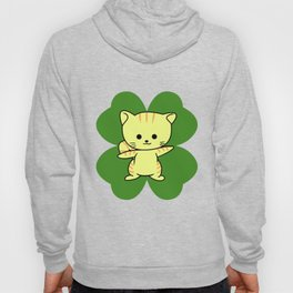 Cat On Four Leaf Clover - St. Patricks Day Funny Hoody