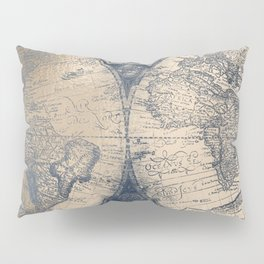 Antique World Map White Gold Navy Blue by Nature Magick Pillow Sham