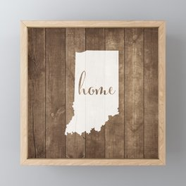 Indiana is Home - White on Wood Framed Mini Art Print