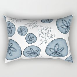 Blue Sand Dollar and Coral Surface Pattern Design Rectangular Pillow