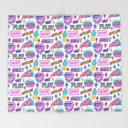 Colorful seamless pattern with patches: pineapples, pizza slices, hearts, etc Throw Blanket
