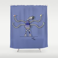 robot Shower Curtains featuring Robot  by Nile
