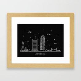 Jacksonville Minimal Nightscape / Skyline Drawing Framed Art Print