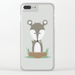 Deer on Stump Clear iPhone Case