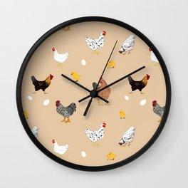 Chicken,chicks,roosterpattern,plane beige background  Wall Clock