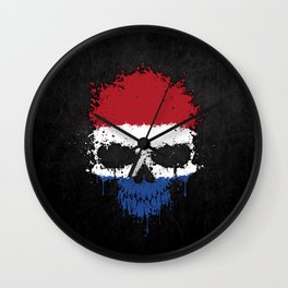 Flag of The Netherlands on a Chaotic Splatter Skull Wall Clock