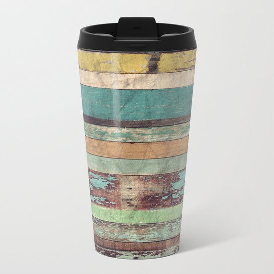 Wooden Vintage  Metal Travel Mug