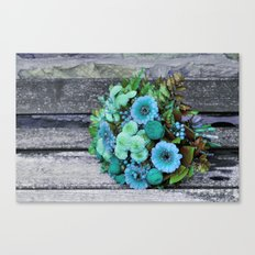 blue green bouquet on wood Canvas Print