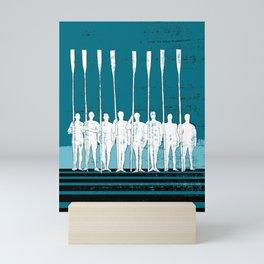 Rowing Crew in White & Blue Mini Art Print