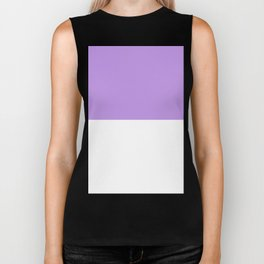 White and Light Violet Horizontal Halves Biker Tank