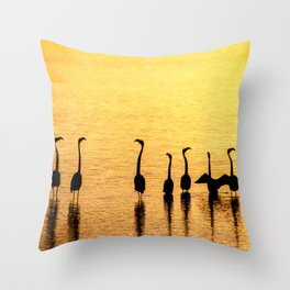 Silhouette of Pink Flamingos Throw Pillow