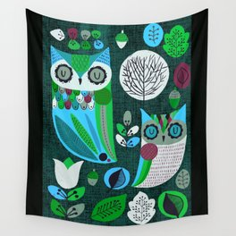 Night Owls Retro Pattern Wall Tapestry