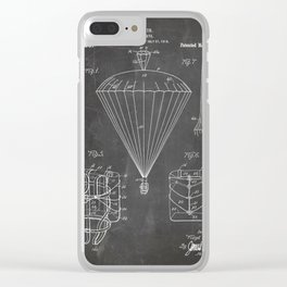Parachute Patent - Sky Diving Art - Black Chalkboard Clear iPhone Case