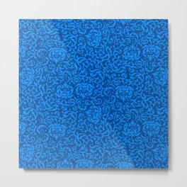 Blue Tudor Damask Metal Print
