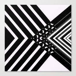 Modern Minimal Black White V Patten Canvas Print