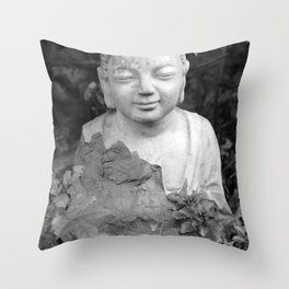 Buddha back and white Throw Pillow