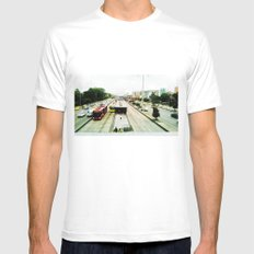 The mobility of the city. MEDIUM White Mens Fitted Tee