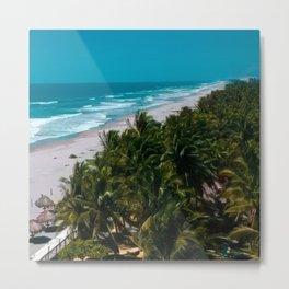 Waves and Palms Metal Print