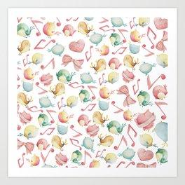Cute pink green yellow watercolor music notes bird pattern Art Print