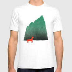 Man & Nature - Island #1 White Mens Fitted Tee MEDIUM