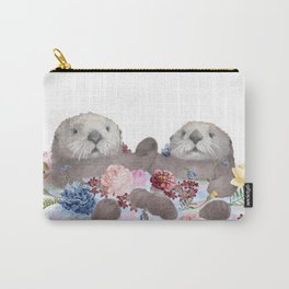 Sea Otters Holding Hands, Love Art Carry-All Pouch
