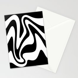 Liquid Mountain Abstract // Black and White Stationery Cards