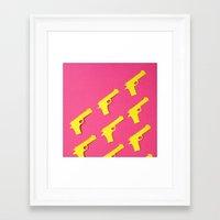 guns Framed Art Prints featuring Guns Papercut by Sally Eyeballs