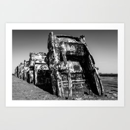 Amarillo Texas Ranch of Cadillacs In Black and White Art Print