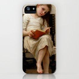 "William-Adolphe Bouguereau ""Le Livre De Prix (The Price Book)"" iPhone Case"