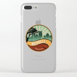 Nashville City Skyline Tennessee Retro Vintage Design Clear iPhone Case