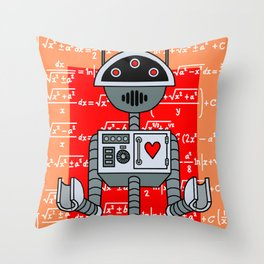 Nerdy Robot Print with math formulas in background Throw Pillow