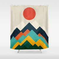 outdoor Shower Curtains featuring The hills are alive by Picomodi