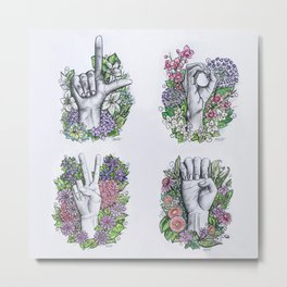 LOVE ASL Art- square version Metal Print